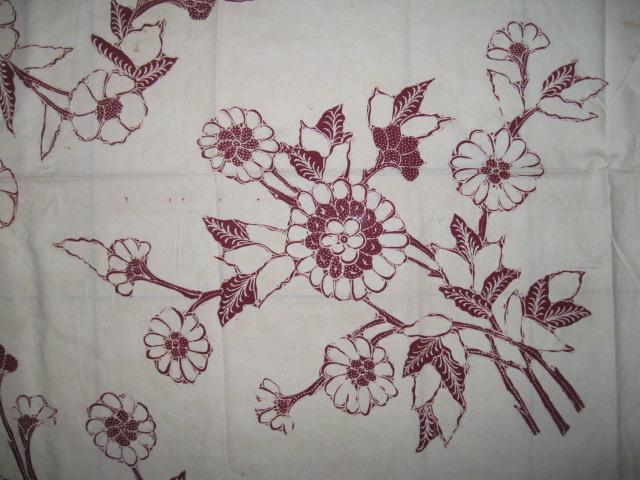 Juanda Antik Solo : Batik #128. Kelengan Merah Buketan Bunga