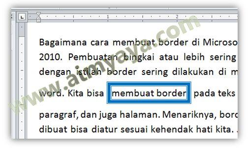 Gambar: Contoh penggunaan border teks di Microsoft Word 2010