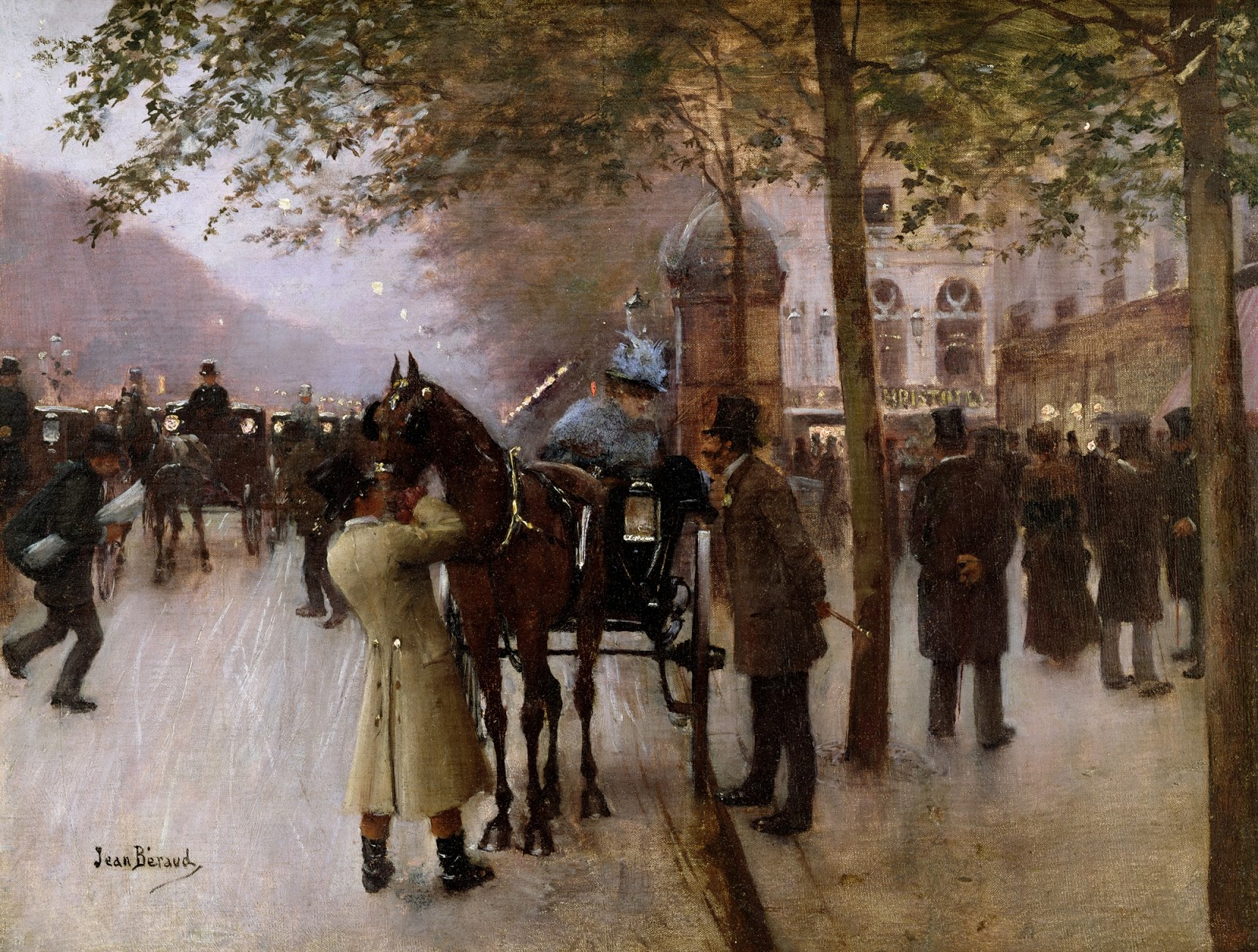 Jean    C Araud  The   oulevards C  Evening  in  Front  of  the  Cafe  Napolitain