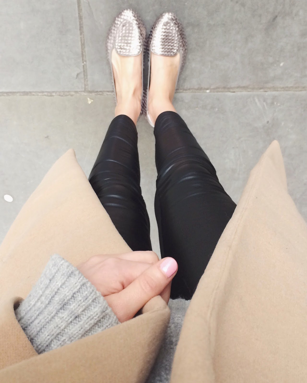 pink nails, nude nails, fwis, from where i stand, pointed loafers, pointed ballet flats, metallic flats, metallic loafers, leather pants, leather leggings, camel coat, wardrobe staple