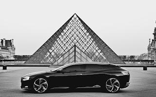 Paris Louvre Pyramid and Citroen Concept Car Black White Photography HD Wallpaper