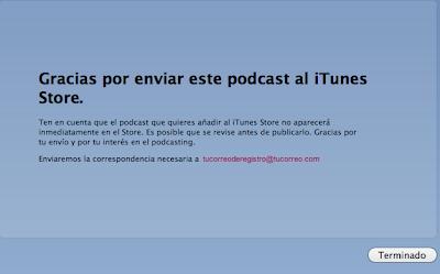 Finalizar el proceso de subida de podcast a iTunes