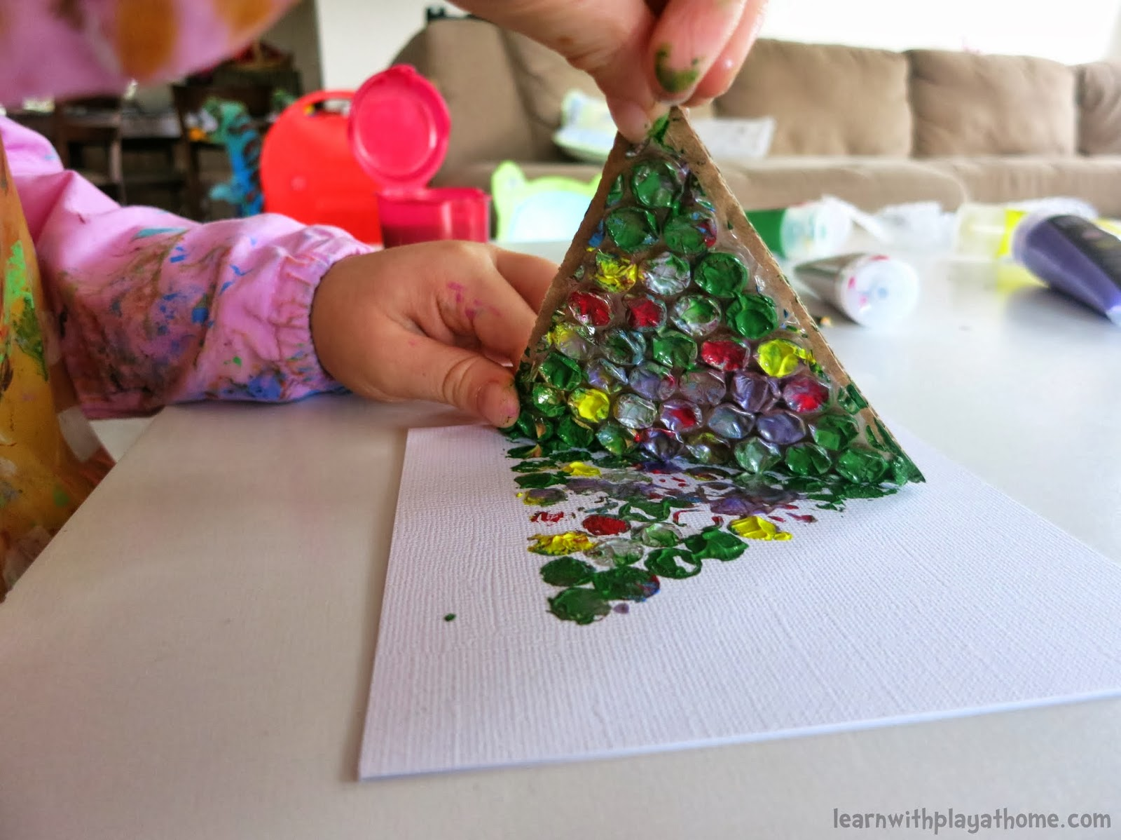 Christmas Cards Making Ideas Part - 38: Learn With Play At Home: Simple Bubblewrap Christmas Cards Made By Kids