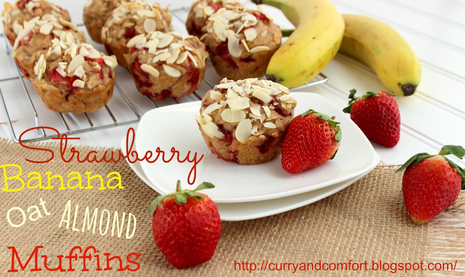 Kitchen Simmer: Strawberry Banana Oat Muffins with Almonds