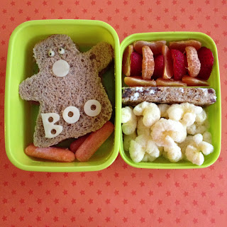 Ghost bento kids lunch with ghost shaped sandwich