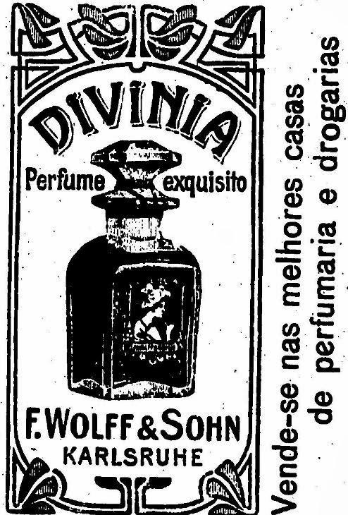 Divinia, perfume exquisito (esquisito). Propaganda de 1911.