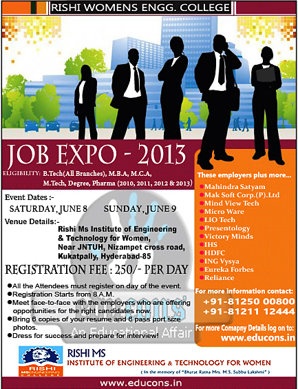 job Fair off campus in Hyderabad 2013 for freshers www.educons.in 2013