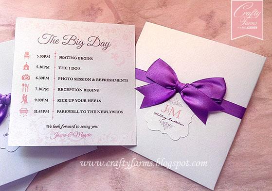 Church Ceremony Wedding Invitation Cards with Timeline