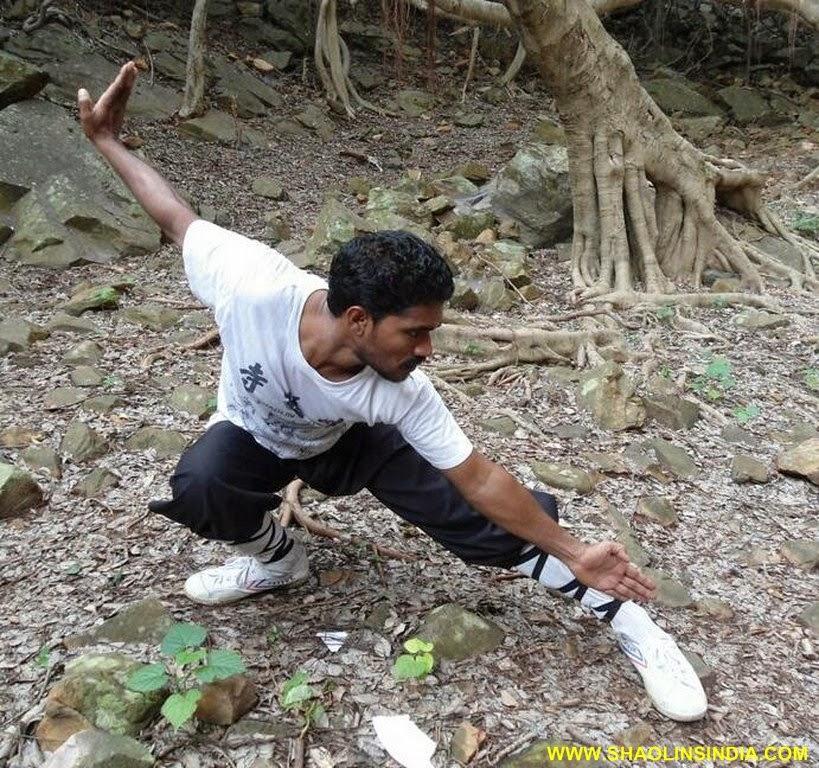 India kung-fu warrior monk training