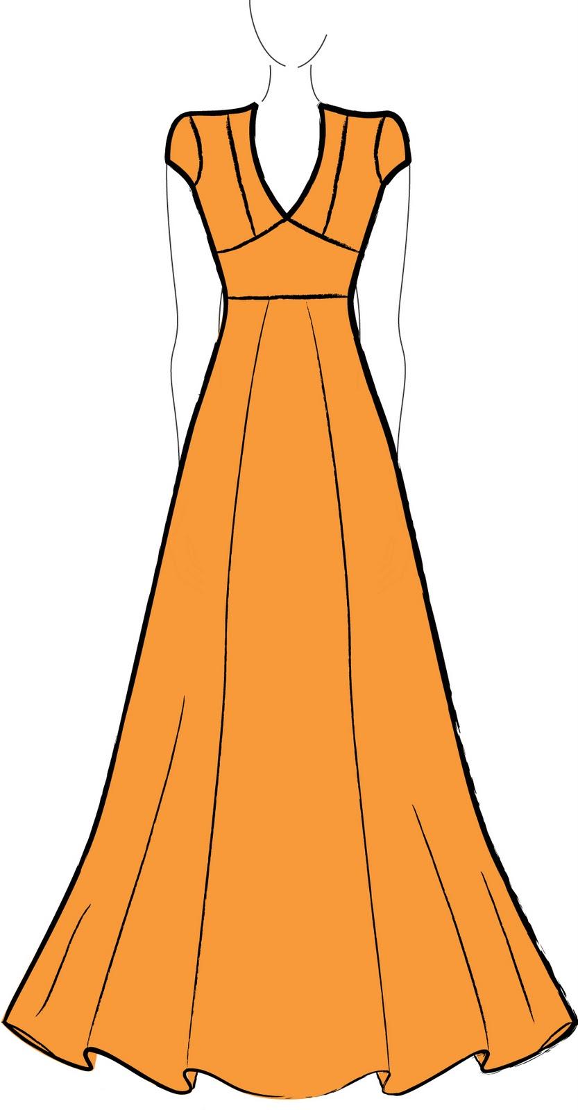 Molde de vestido longo em malha