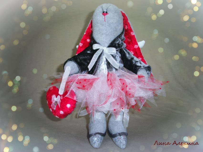 игрушка ручной работы зайка с крылышками ангела