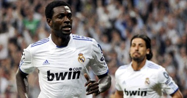 Adebayor in White Real Madrid jersey