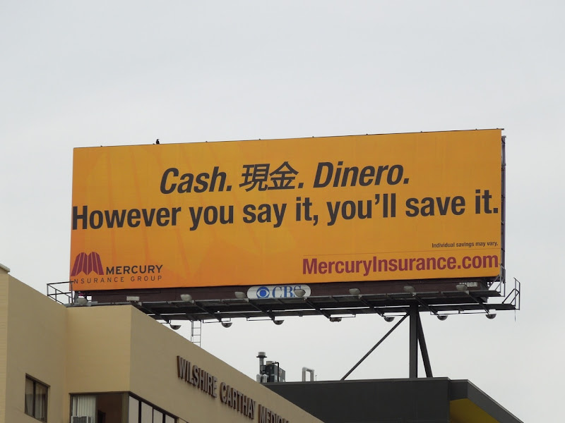 Mercury Insurance cash billboard