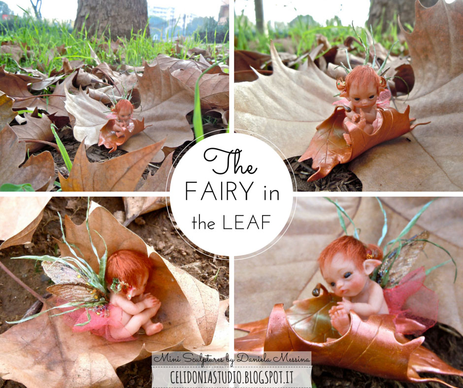 Baby Fairy in the Leaf - ooak fairy by Celidonia - Daniela Messina