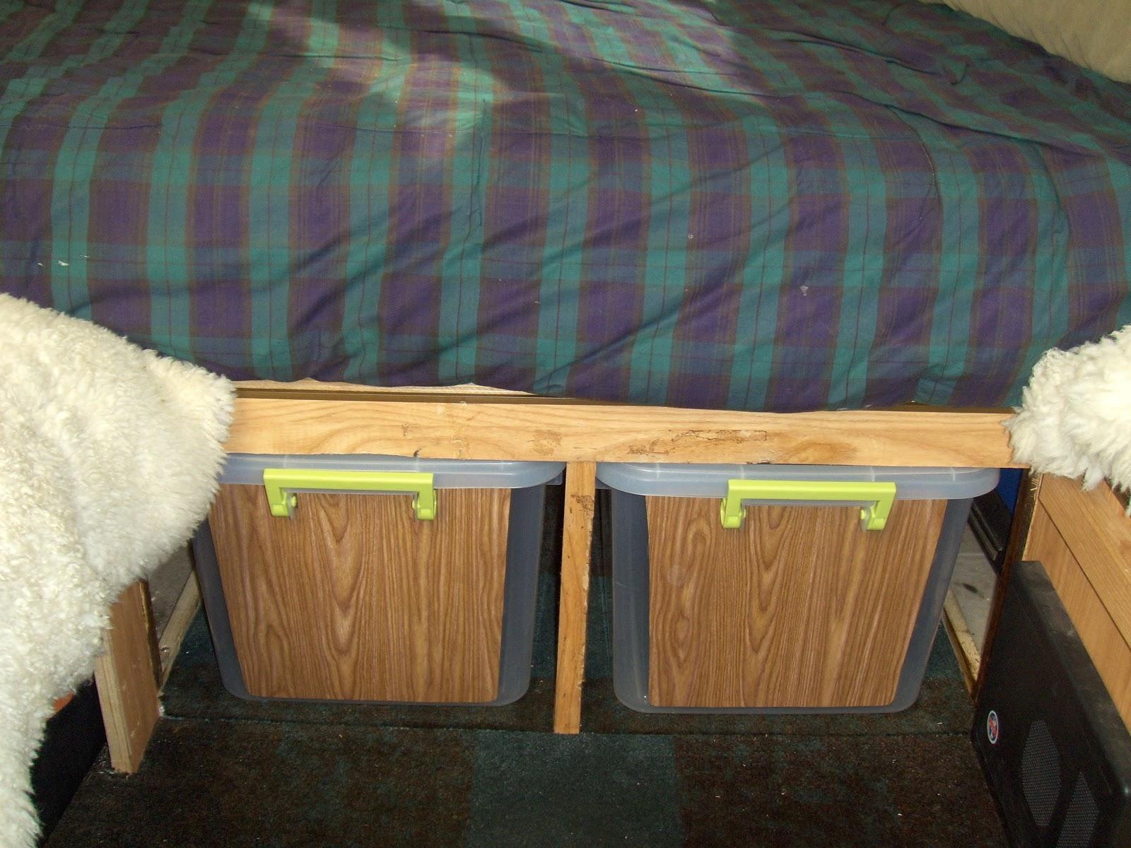Slide Out Tubs Under Permanent Bed Dave Theoleguy And Nancys Aliner Plug Setup 2008 Camper Wiring