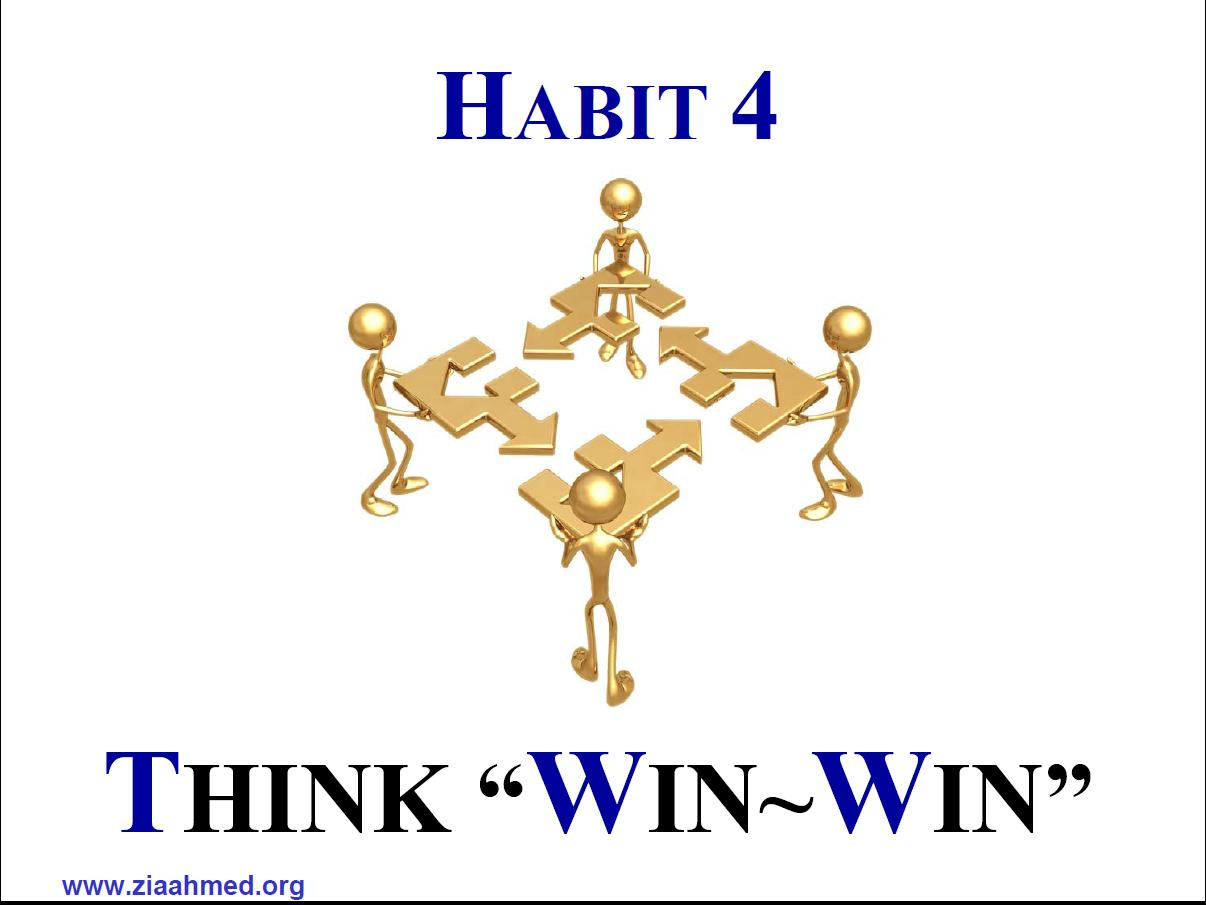 habit 4 The first three of stephen covey's habits of highly effective people are personal they're individual you and i can unilaterally be proactive.