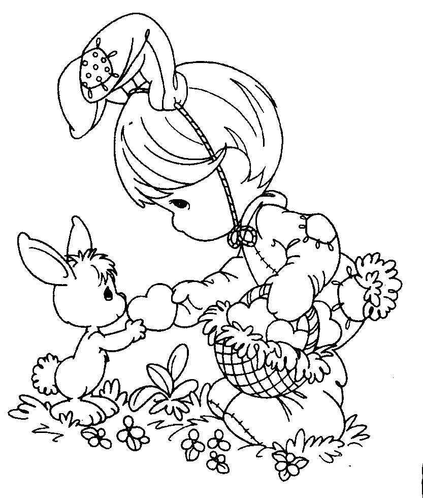 Niña disfrazada de Conejo de Los Preciosos Momentos para colorear