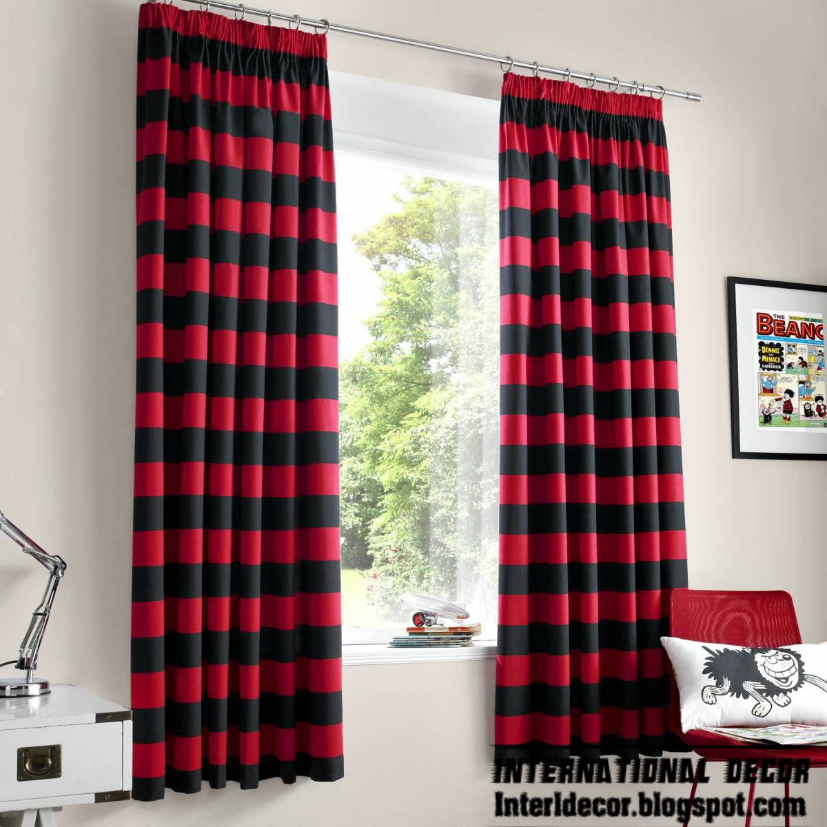 red curtains, red and black striped curtain and window treatments