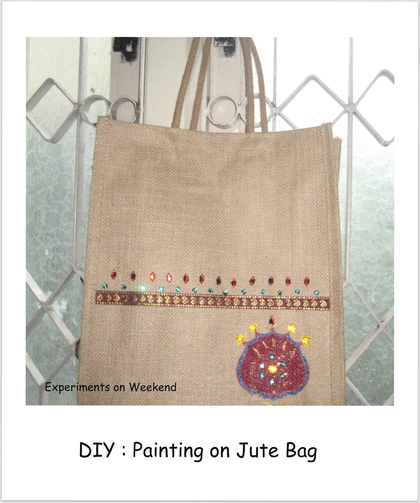 Experiments on weekend diy painting on jute bag for Diy jute