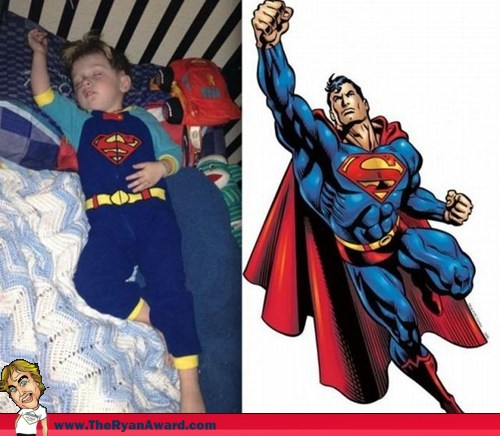 Win Kid sleeps like Superman in Superman Pajamas !