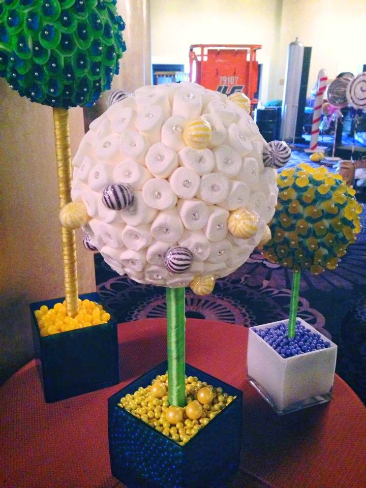 Our custom candy lollipop marshmallow centerpieces