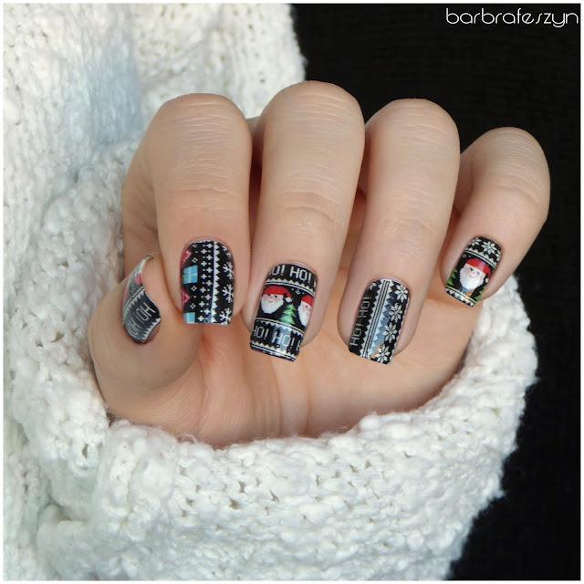 Mikołaje na paznokciach