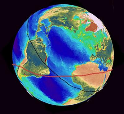 COBRA-- πριν από την πολική μετατόπιση 75.000 χρόνια πριν, η θέση του ισημερινoού με κόκκινο χρώμα