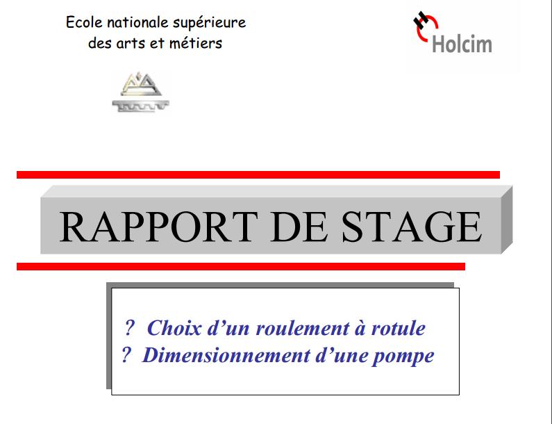 rapport de stage choix d u2019un roulement  u00e0 rotule