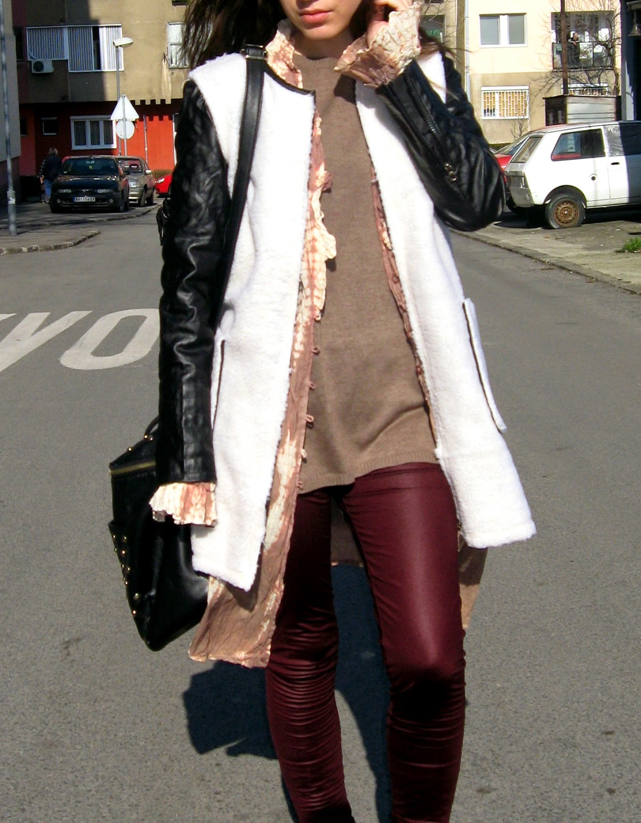 outfit, burgundy leggings, calliope brown oversize sweater, white coat, flat tan boots, long tie dye cardigan, beige faux fur coat with leather sleeves