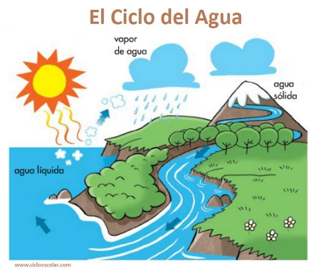 Ciclo del agua para niños.