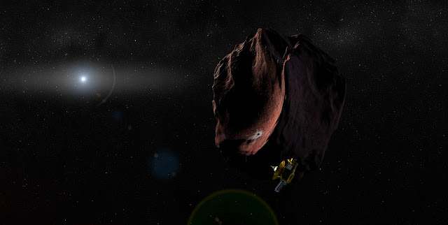 Artist's impression of NASA's New Horizons spacecraft encountering a Pluto-like object in the distant Kuiper Belt. (Credit: NASA/Johns Hopkins University Applied Physics Laboratory/Southwest Research Institute/Steve Gribben)