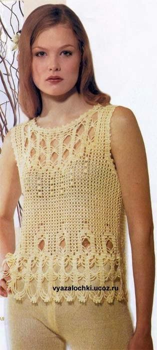 Patron crochet de blusa sin mangas