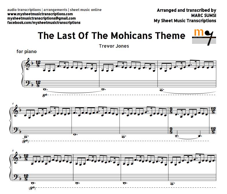 Piano Sheet Music Midi: The Last Of The Mohicans Theme (Trevor Jones) Sheet Music