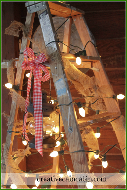 Simplicity styled Christmas touches, by Creative Cain Cabin, featured on Funky Junk Interiors