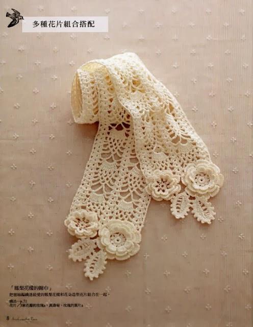 Irish Crochet Lace Shawl Pattern : Art: SCARF WITH ELEMENTS OF IRISH LACE