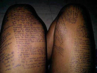 Exam malpractice: Final year student of DELSU caught with 'exam expo' on her thighs and private part