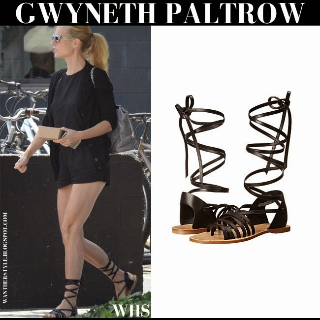 Gwyneth Paltrow in black strappy gladiator sandals Band of Outsiders what she wore may 17 streetstyle