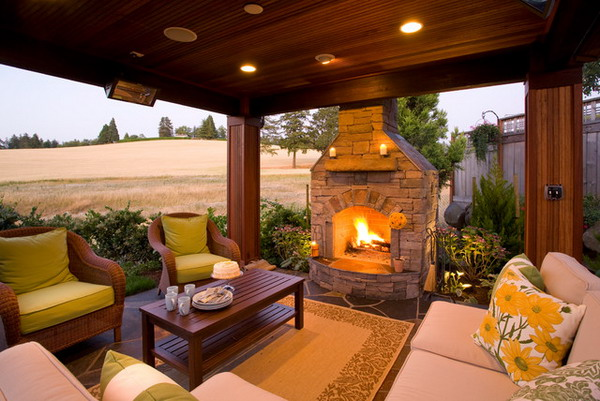 covered patio with fireplace ideas - Backyard Covered Patio Ideas