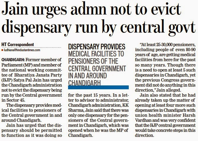 Jain urges admn not to evict dispensary run by central govt