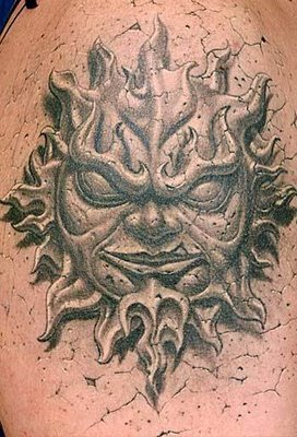 choosing tattoo 3d style sun god tattoo design. Black Bedroom Furniture Sets. Home Design Ideas