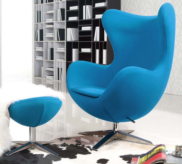 Turquoise Blue Wool Arne Jacobsen Egg Chair Replica With Ottoman