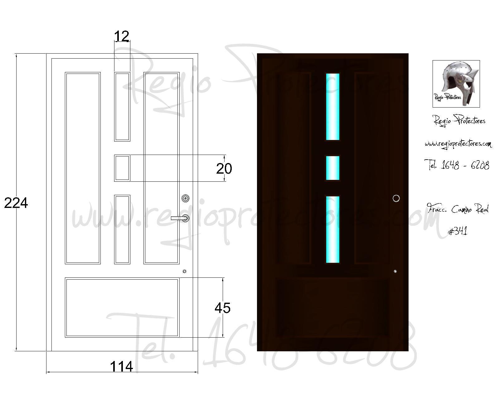 Regio protectores puerta principal modelo regina fracc for Modelos de puertas para entrada principal