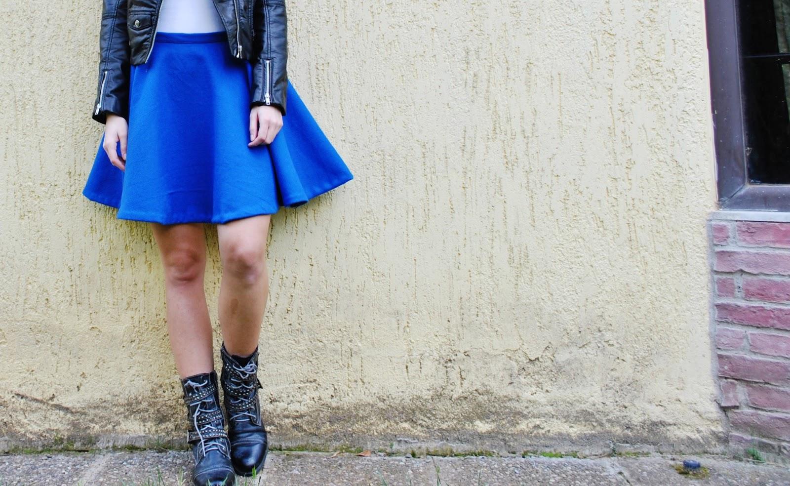 cobalt blue skater skirt the wardrobe project