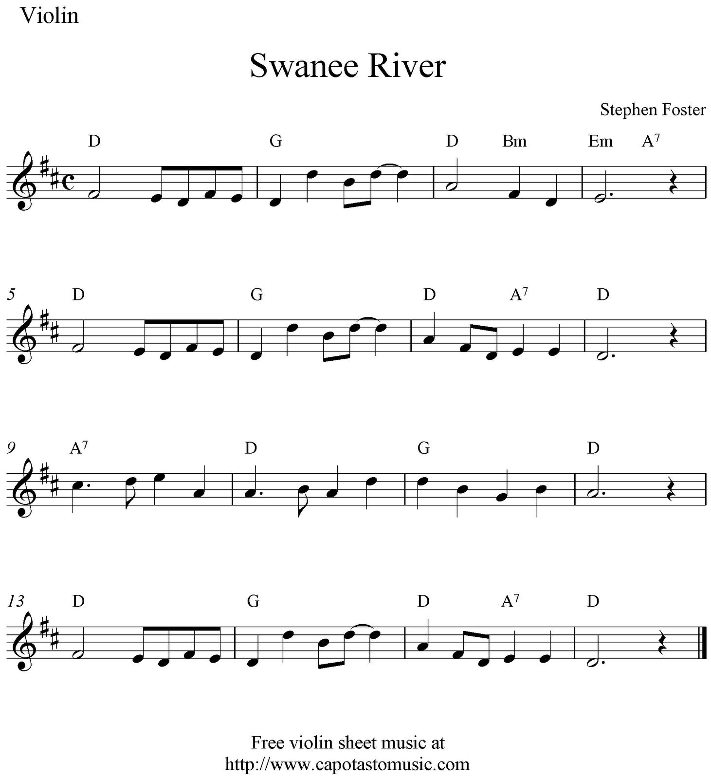 Free Christmas Violin Sheet Music O: Swanee River, Free Violin Sheet Music Notes