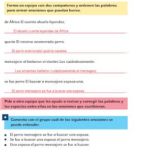 Respuestas Apoyo Primaria Español 2do grado Bloque 1 lección 8 Las oraciones