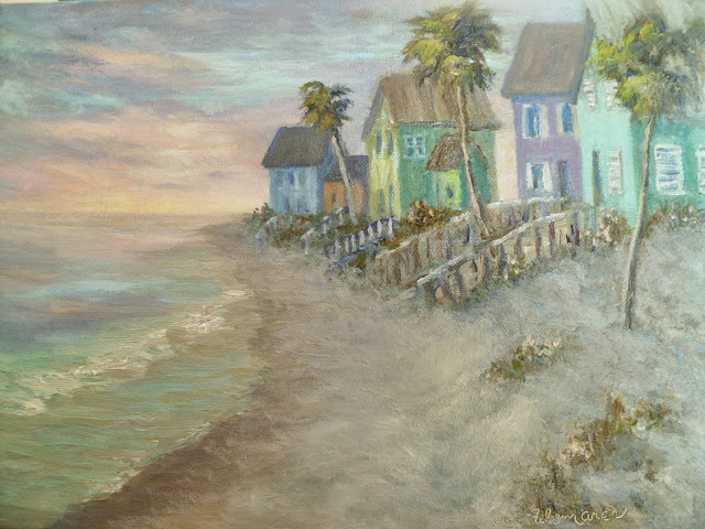 Coastal Decor Painting of a beach sunset