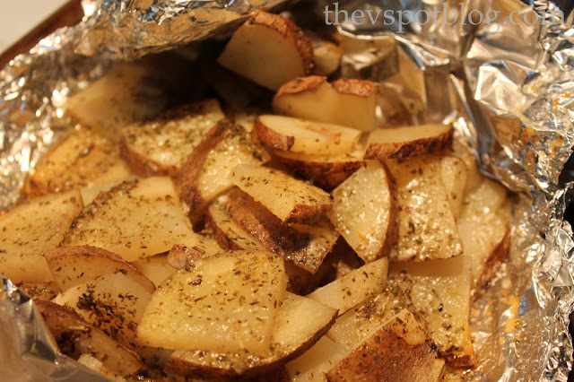 Cook easy roasted potatoes by using foil packets.