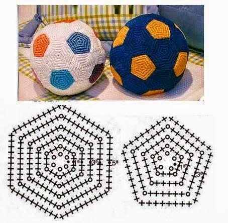 Balón de fútbol tejido con ganchillo