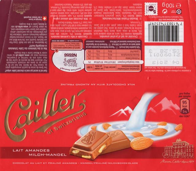 tablette de chocolat lait gourmand cailler lait amandes