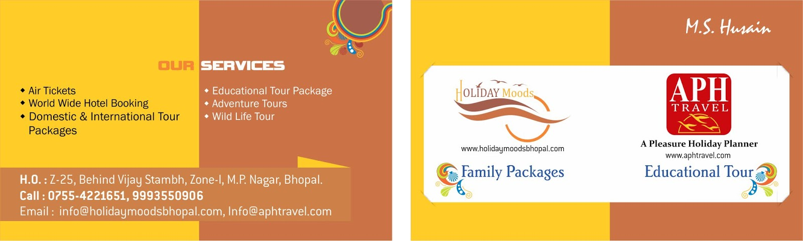 Bhagat Graphic Designer: aph travels vcard design